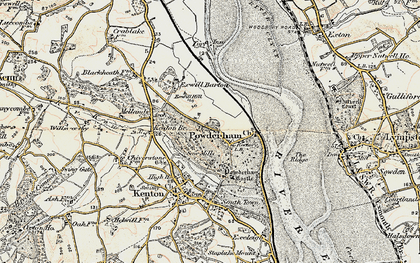 Old map of Powderham in 1899