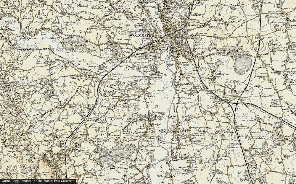 Old Map of Powick, 1899-1901 in 1899-1901