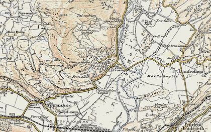 Old map of Afon Glaslyn in 1903