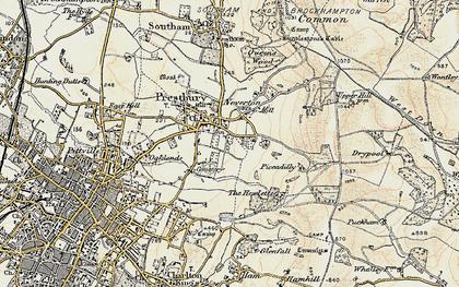 Old map of Prestbury in 1898-1900