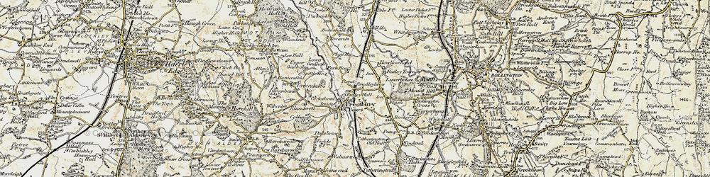 Old map of Prestbury in 1902-1903