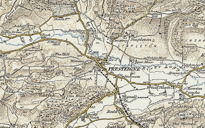 Old map of Presteigne in 1900-1903