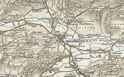 Old map of Presteigne in 1900-1903