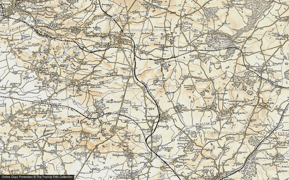 Old Map of Historic Map covering Agricultural Show Ground in 1899