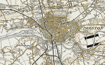 Old map of Preston in 1903