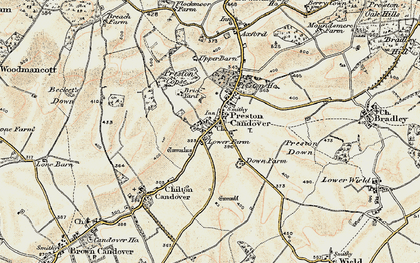 Old map of Preston Candover in 1897-1900