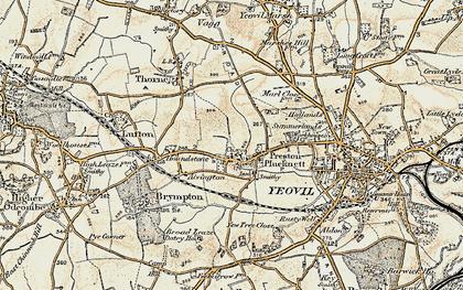 Old map of Preston Plucknett in 1899
