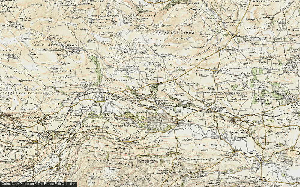 Old Map of Historic Map covering Layburn Moor in 1903-1904