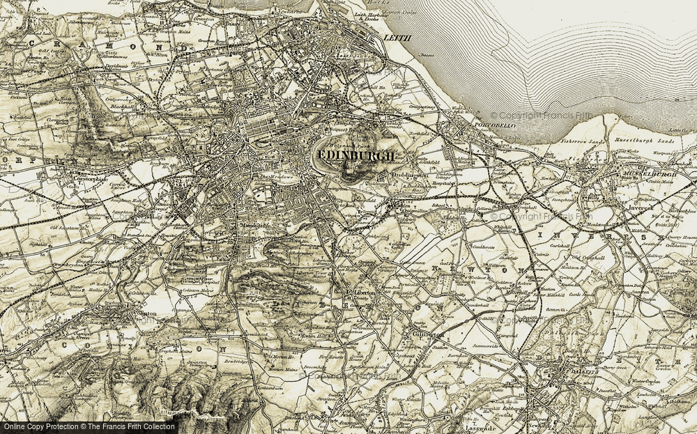 Old Map of Historic Map covering Arthur's Seat (Fort) in 1903-1904