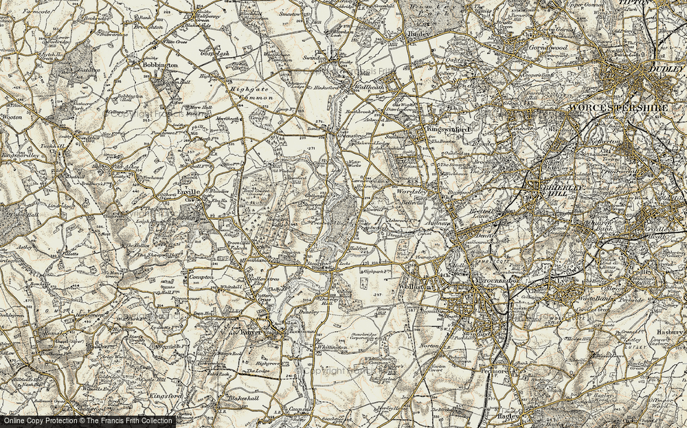 Old Map of Historic Map covering Lawns Wood in 1902