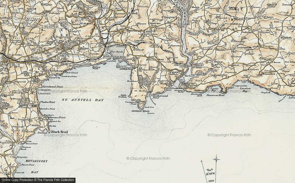 Old Map of Pridmouth, 1900 in 1900