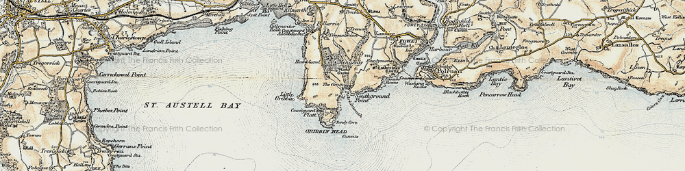 Old map of Pridmouth in 1900
