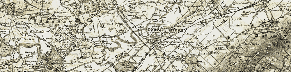 Old map of Wester Banchory in 1907-1908