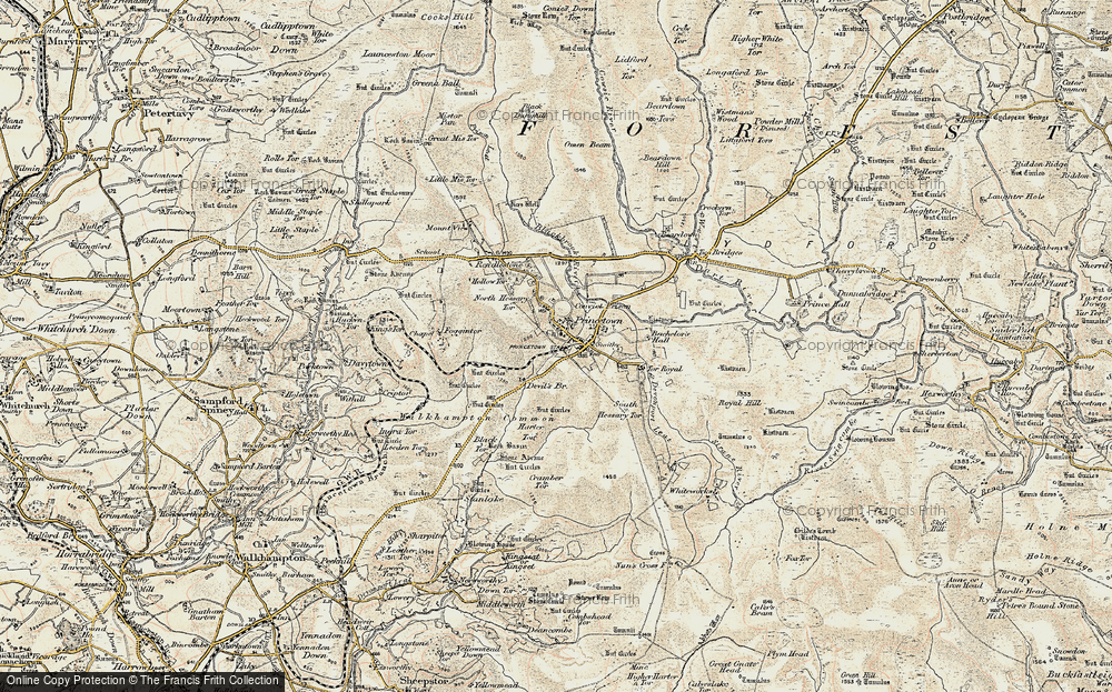 Old Map of Historic Map covering Leeden Tor in 1899-1900