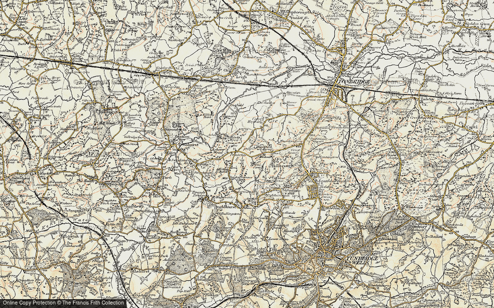 Old Map of Historic Map covering Ashour Wood in 1897-1898