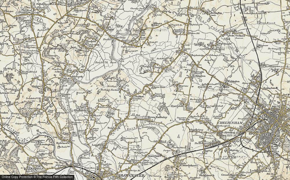 Old Map of Historic Map covering Leigh End in 1898-1900