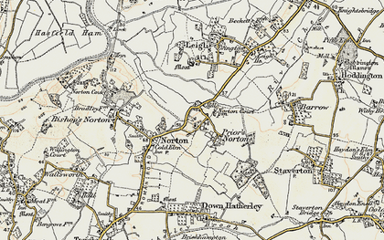 Old map of Leigh End in 1898-1900