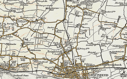 Old map of Prittlewell in 1898