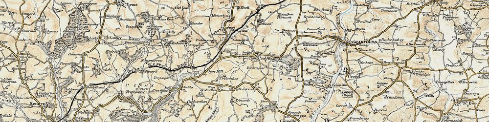Old map of Probus in 1900