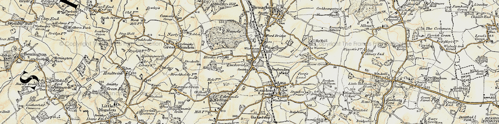 Old map of Puckeridge in 1898-1899