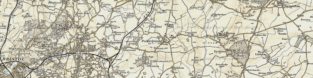 Old map of Pucklechurch in 1899