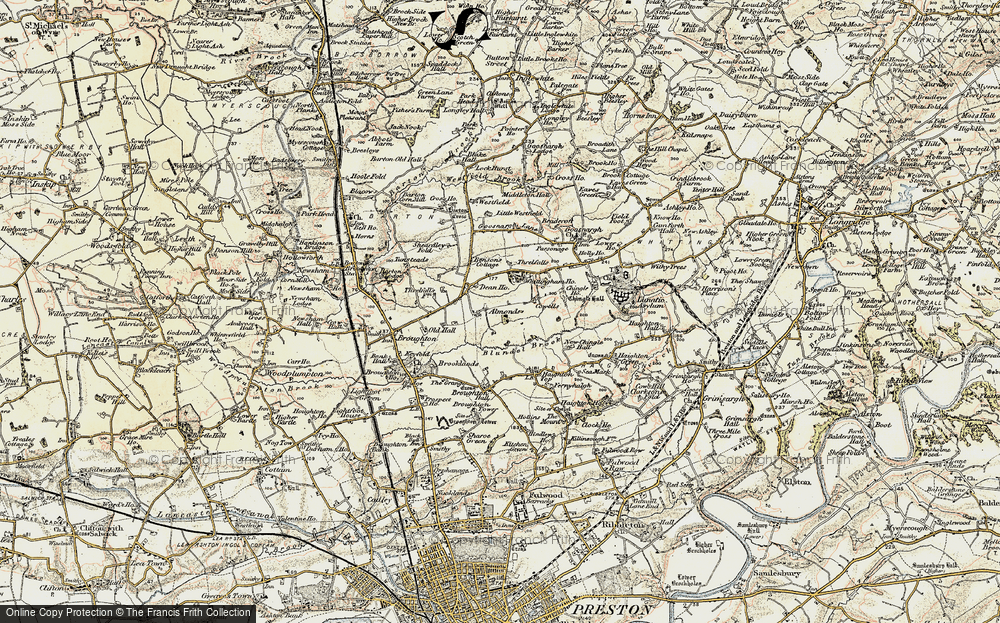 Old Map of Historic Map covering Whittingham Ho in 1903-1904