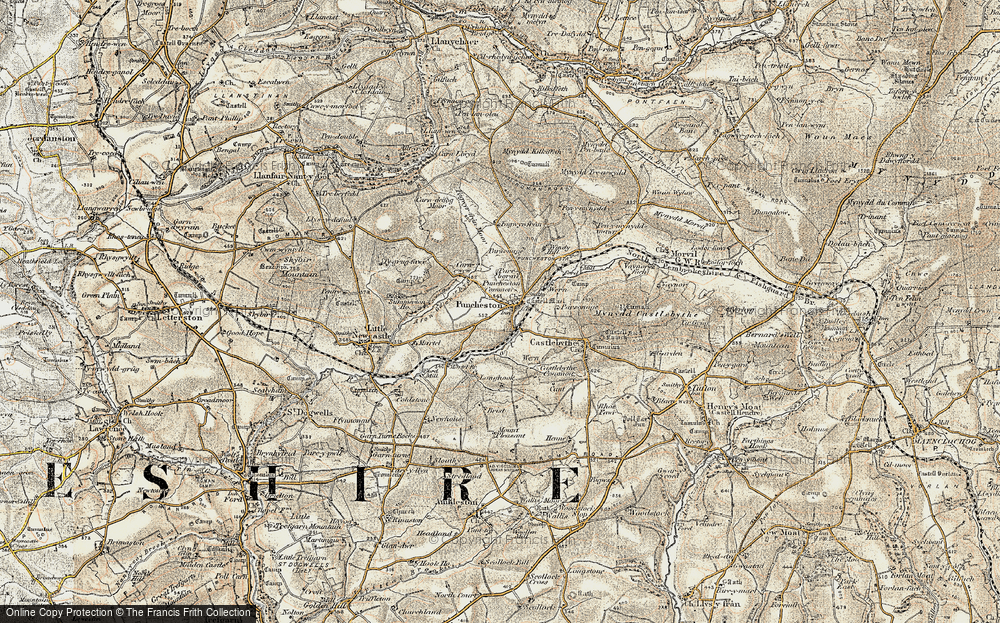 Old Map of Historic Map covering Afon Anghof in 1901-1912
