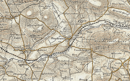 Old map of Puncheston in 1901-1912