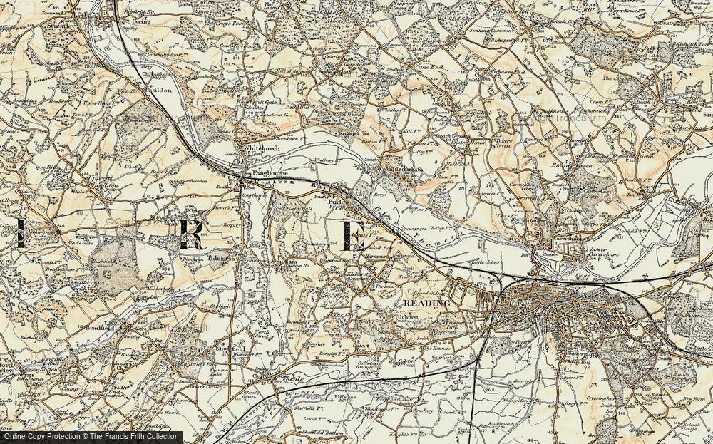 Old Map of Historic Map covering Tilehurst Sta in 1897-1900
