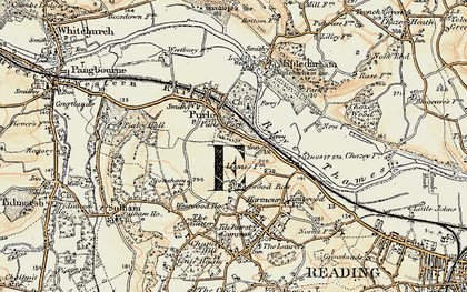 Old map of Purley on Thames in 1897-1900