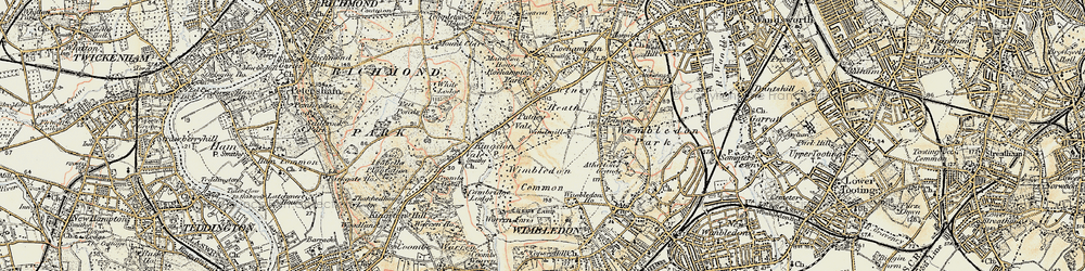 Old map of Wimbledon Common in 1897-1909