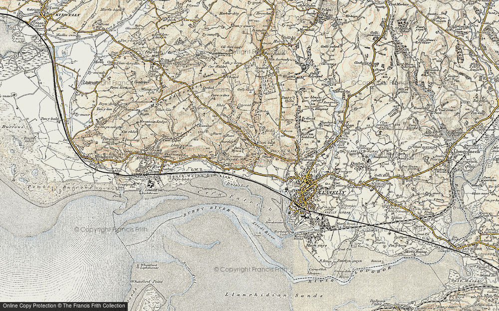 Old Map of Historic Map covering Afon Dulais in 1900-1901