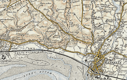 Old map of Afon Dulais in 1900-1901