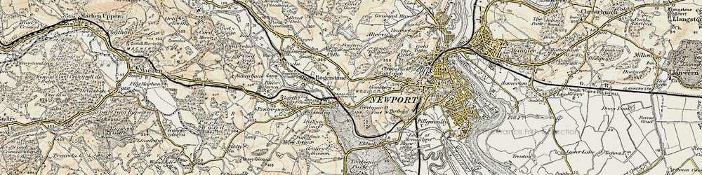 Old map of Pye Corner in 1899-1900