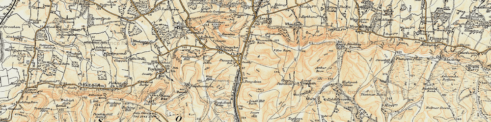 Old map of Pyecombe in 1898