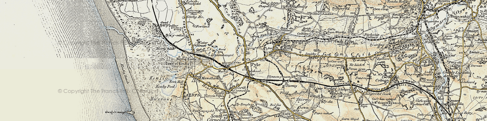 Old map of Pyle in 1900-1901