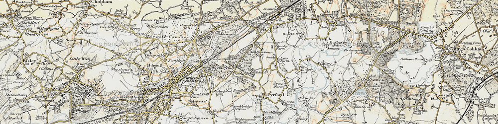 Old map of Pyrford in 1897-1909