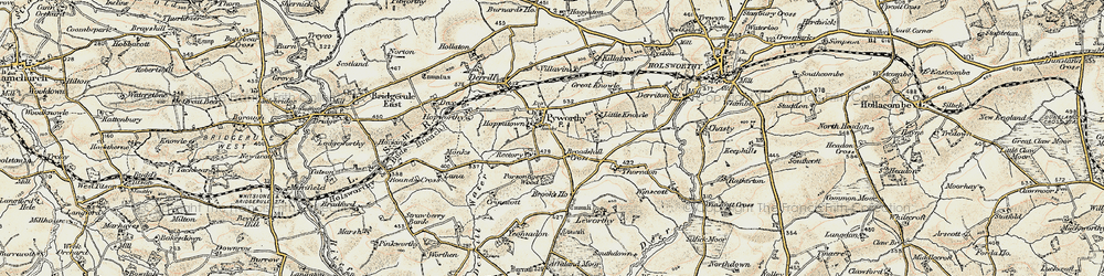 Old map of Affaland Moor in 1900