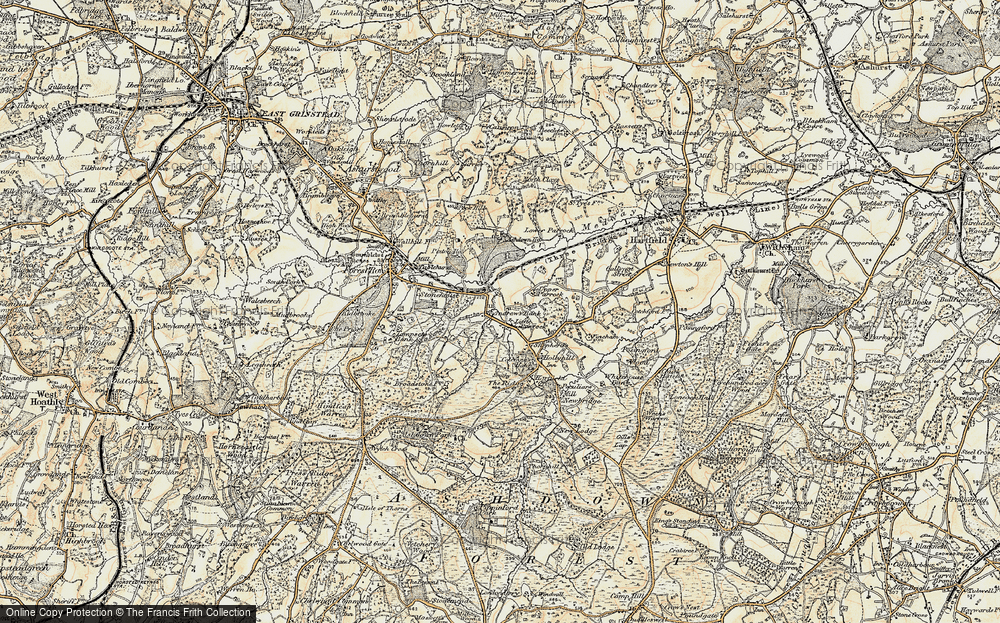 Old Map of Historic Map covering Ashdown Ho (Sch) in 1898-1902