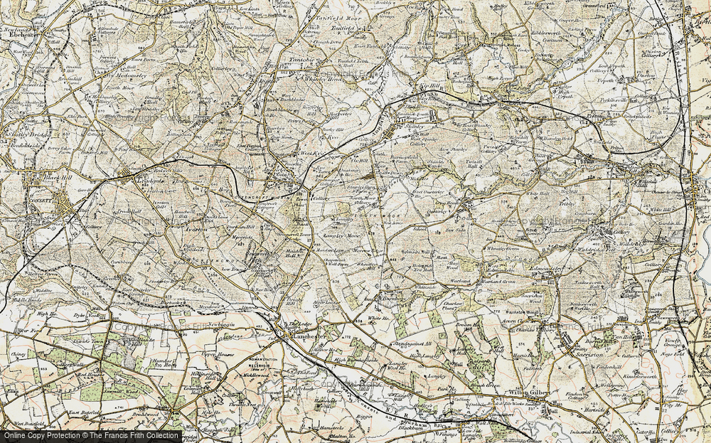 Old Map of Historic Map covering Langley Moor in 1901-1904