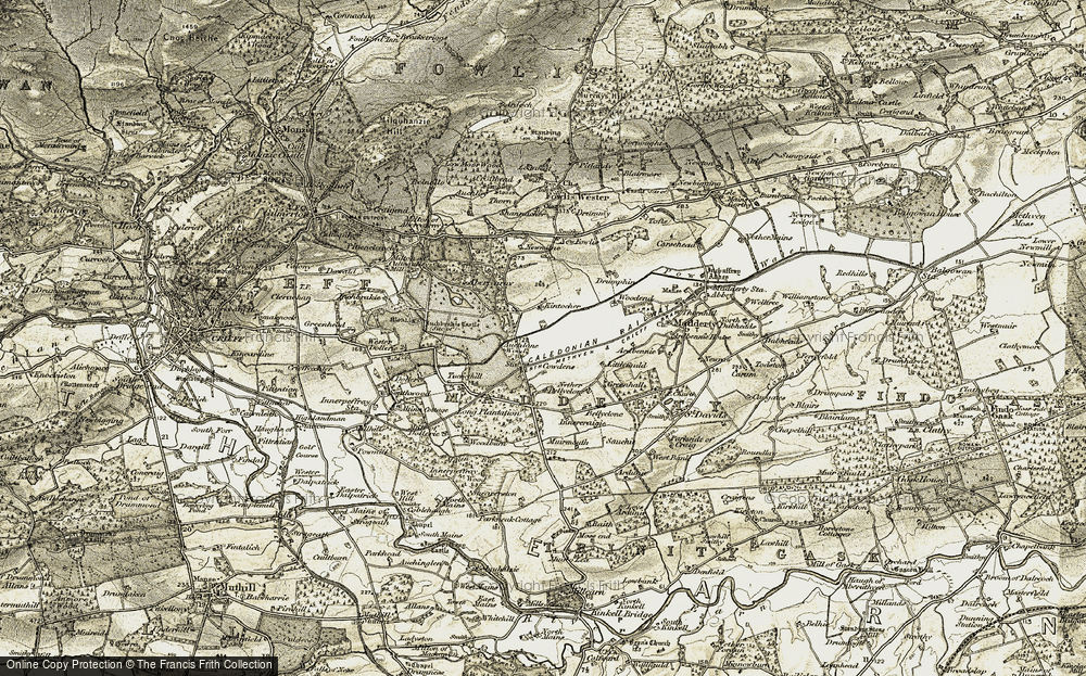Old Map of Historic Map covering Auchlone Wood in 1906-1908