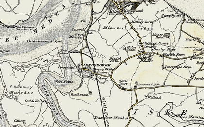 Old map of Queenborough in 1897-1898
