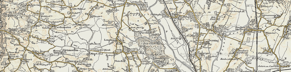 Old map of Queenhill in 1899-1901