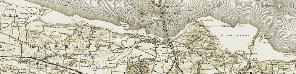 Old map of Queensferry in 1903-1906