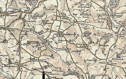 Old map of Quethiock in 1899-1900