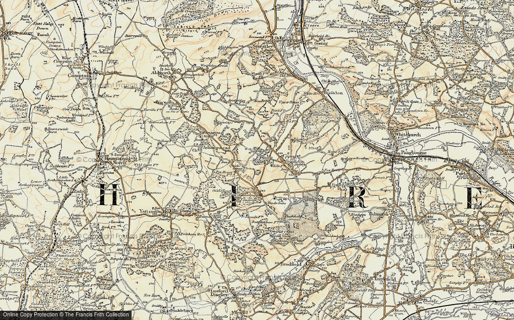 Old Map of Historic Map covering Ashampstead Common in 1897-1900
