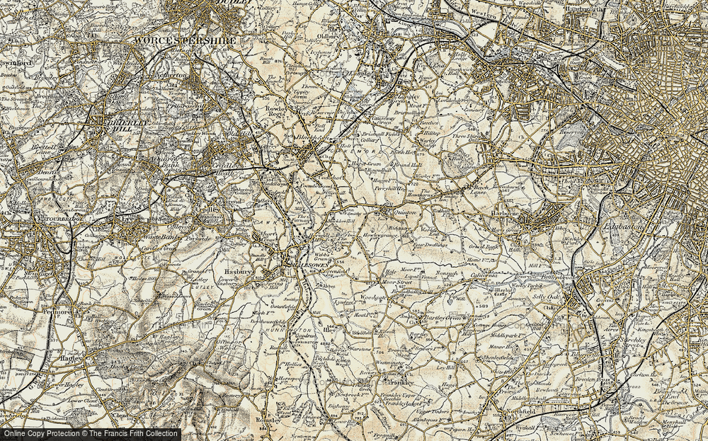 Old Map of Historic Map covering Hurst Green in 1901-1902