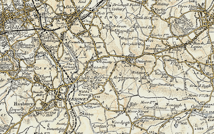 Old map of Hurst Green in 1901-1902