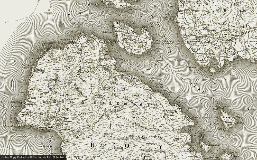 Old Map of Historic Map covering Whaness Burn in 1912
