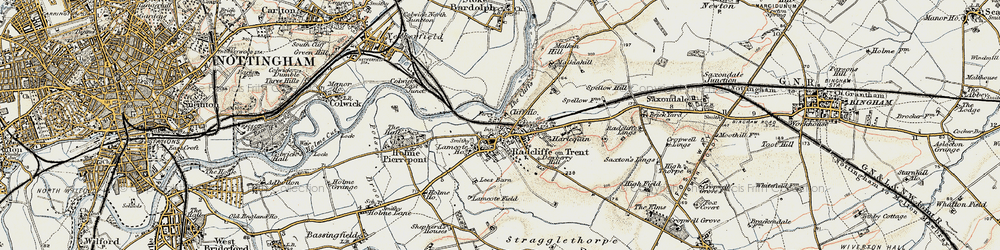 Old map of Radcliffe on Trent in 1902-1903